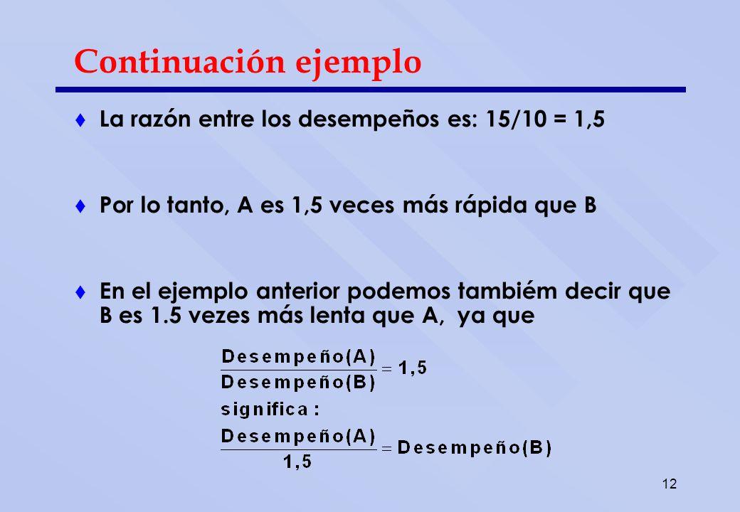 12 Continuación ejemplo La razón entre los desempeños es: 15/10 = 1,5 Por lo tanto, A es 1,5 veces más rápida que B En el ejemplo anterior podemos tam