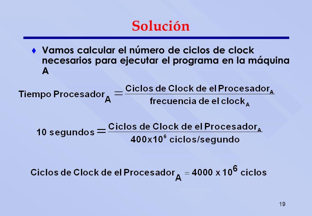19 Solución Vamos calcular el número de ciclos de clock necesarios para ejecutar el programa en la máquina A