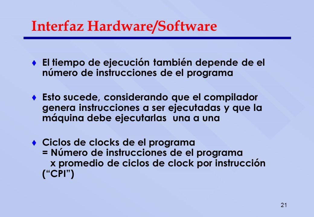 21 Interfaz Hardware/Software El tiempo de ejecución también depende de el número de instrucciones de el programa Esto sucede, considerando que el com