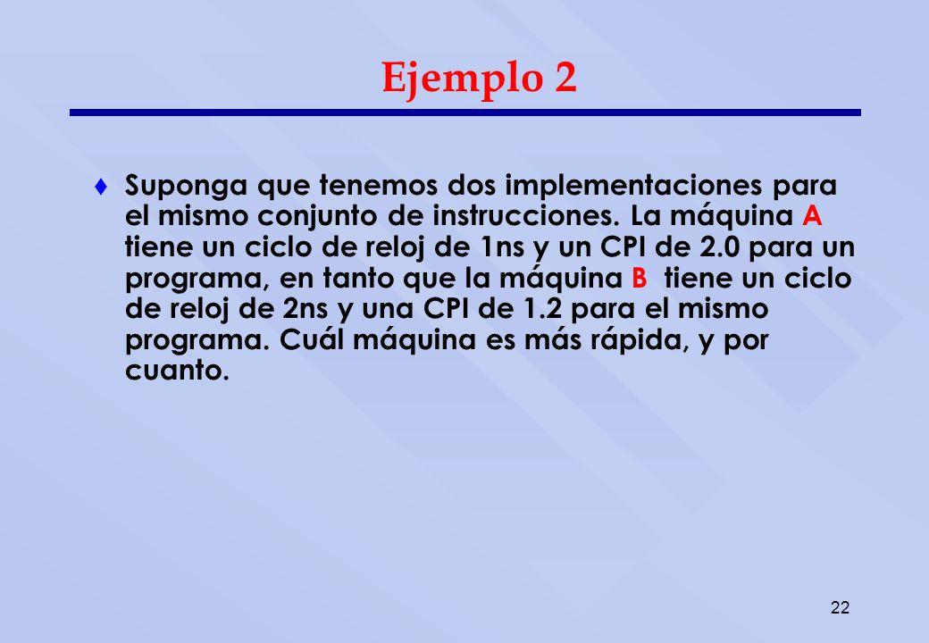 22 Ejemplo 2 Suponga que tenemos dos implementaciones para el mismo conjunto de instrucciones. La máquina A tiene un ciclo de reloj de 1ns y un CPI de