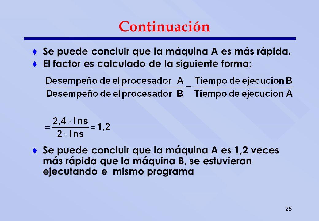 25 Continuación Se puede concluir que la máquina A es más rápida. El factor es calculado de la siguiente forma: Se puede concluir que la máquina A es