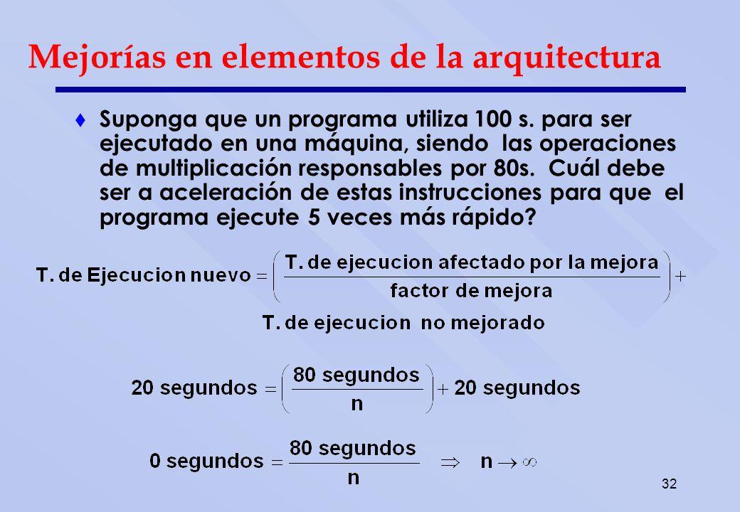 32 Suponga que un programa utiliza 100 s. para ser ejecutado en una máquina, siendo las operaciones de multiplicación responsables por 80s. Cuál debe