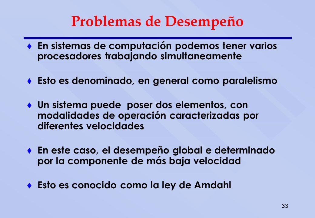 33 Problemas de Desempeño En sistemas de computación podemos tener varios procesadores trabajando simultaneamente Esto es denominado, en general como