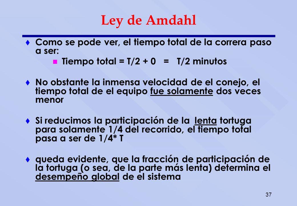 37 Ley de Amdahl Como se pode ver, el tiempo total de la correra paso a ser: Tiempo total = T/2 + 0 = T/2 minutos No obstante la inmensa velocidad de