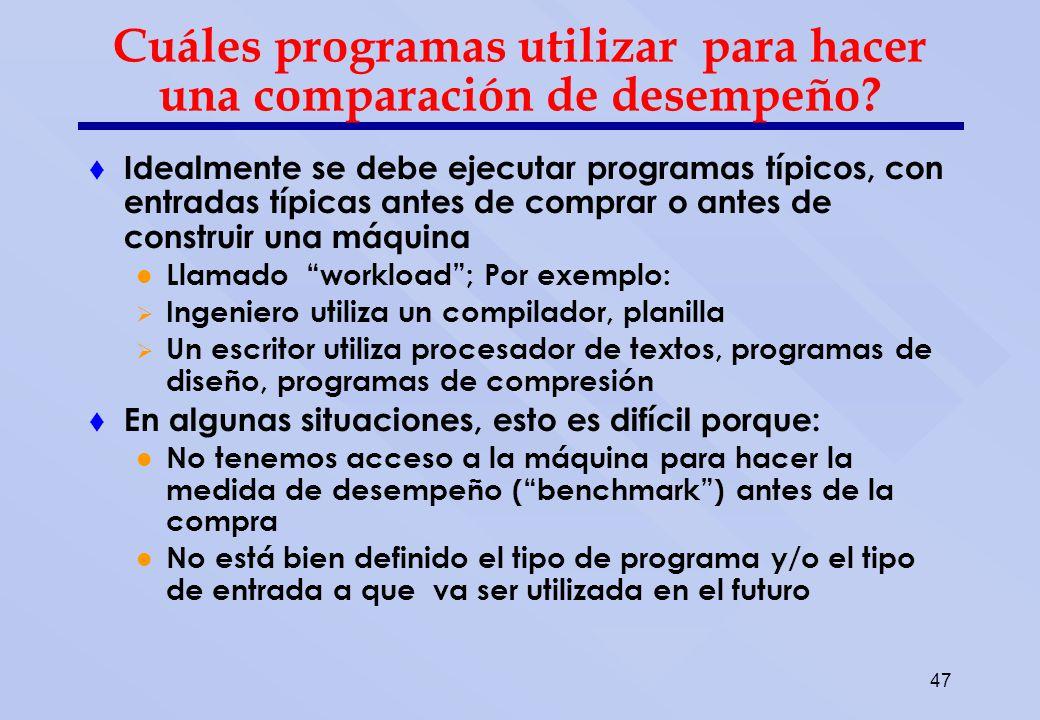 47 Cuáles programas utilizar para hacer una comparación de desempeño? Idealmente se debe ejecutar programas típicos, con entradas típicas antes de com