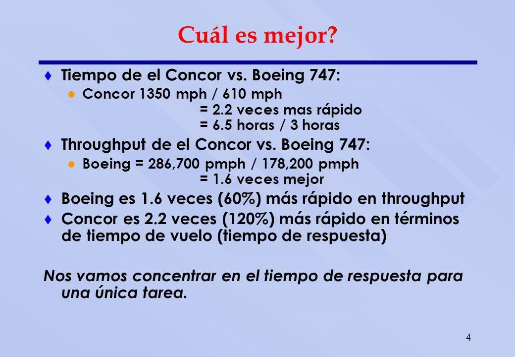 4 Cuál es mejor? Tiempo de el Concor vs. Boeing 747: Concor 1350 mph / 610 mph = 2.2 veces mas rápido = 6.5 horas / 3 horas Throughput de el Concor vs