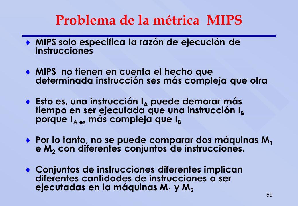 59 Problema de la métrica MIPS MIPS solo especifica la razón de ejecución de instrucciones MIPS no tienen en cuenta el hecho que determinada instrucci