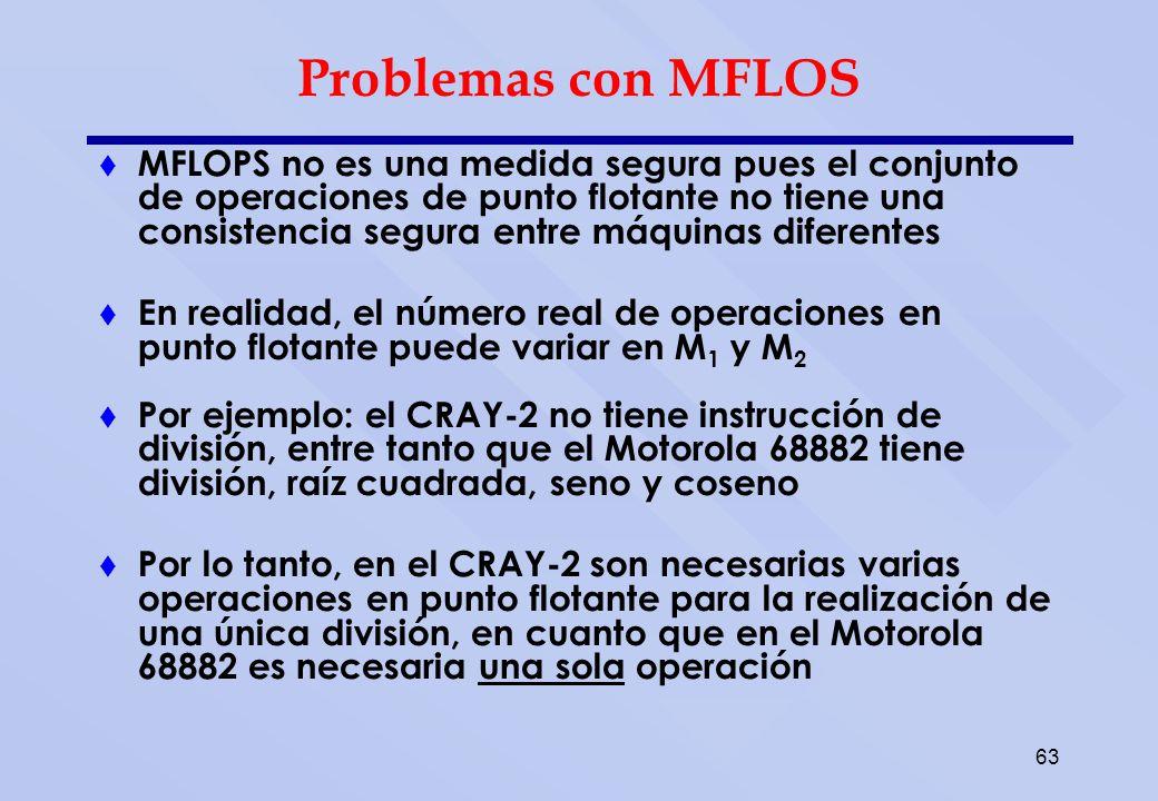 63 Problemas con MFLOS MFLOPS no es una medida segura pues el conjunto de operaciones de punto flotante no tiene una consistencia segura entre máquina