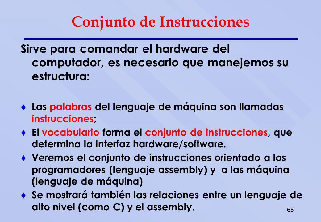 65 Conjunto de Instrucciones Sirve para comandar el hardware del computador, es necesario que manejemos su estructura: Las palabras del lenguaje de má
