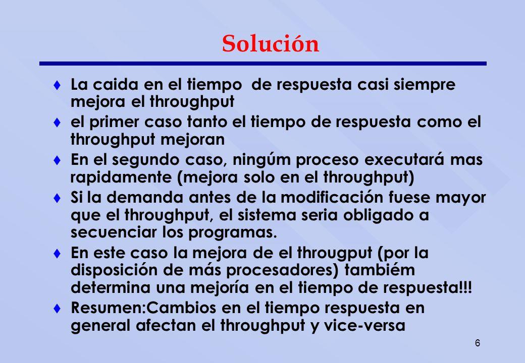 6 Solución La caida en el tiempo de respuesta casi siempre mejora el throughput el primer caso tanto el tiempo de respuesta como el throughput mejoran