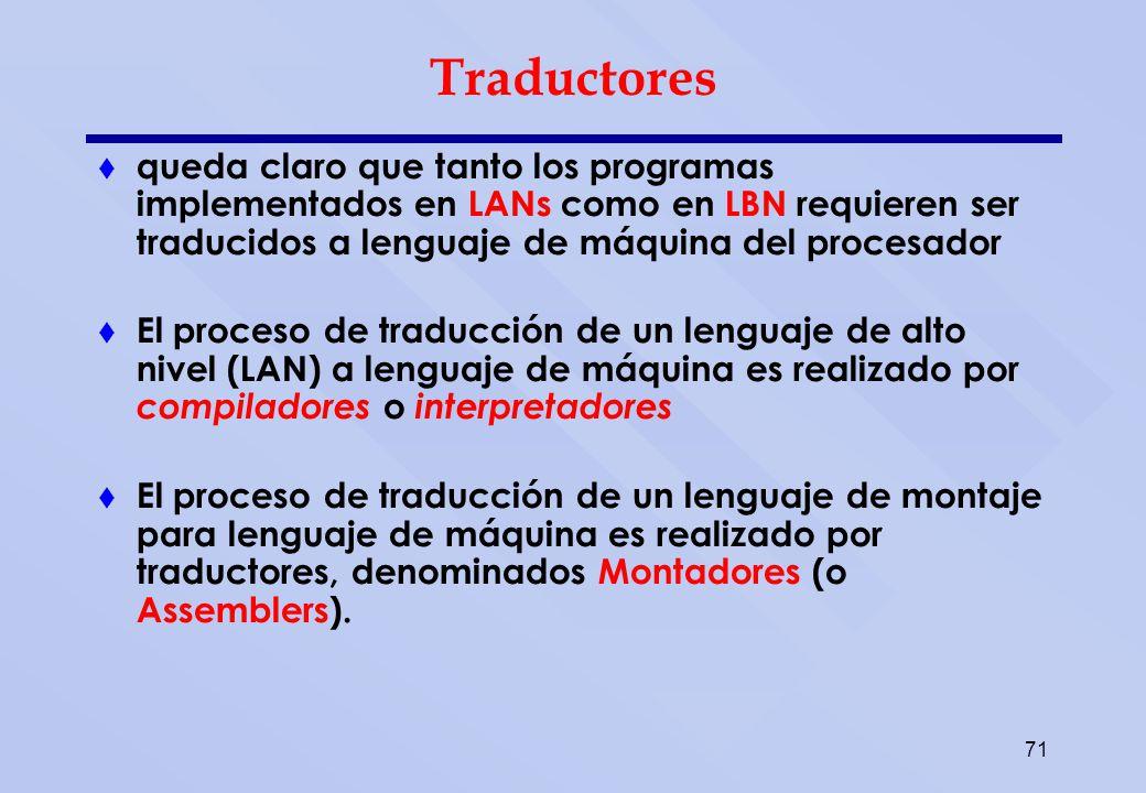 71 Traductores queda claro que tanto los programas implementados en LANs como en LBN requieren ser traducidos a lenguaje de máquina del procesador El