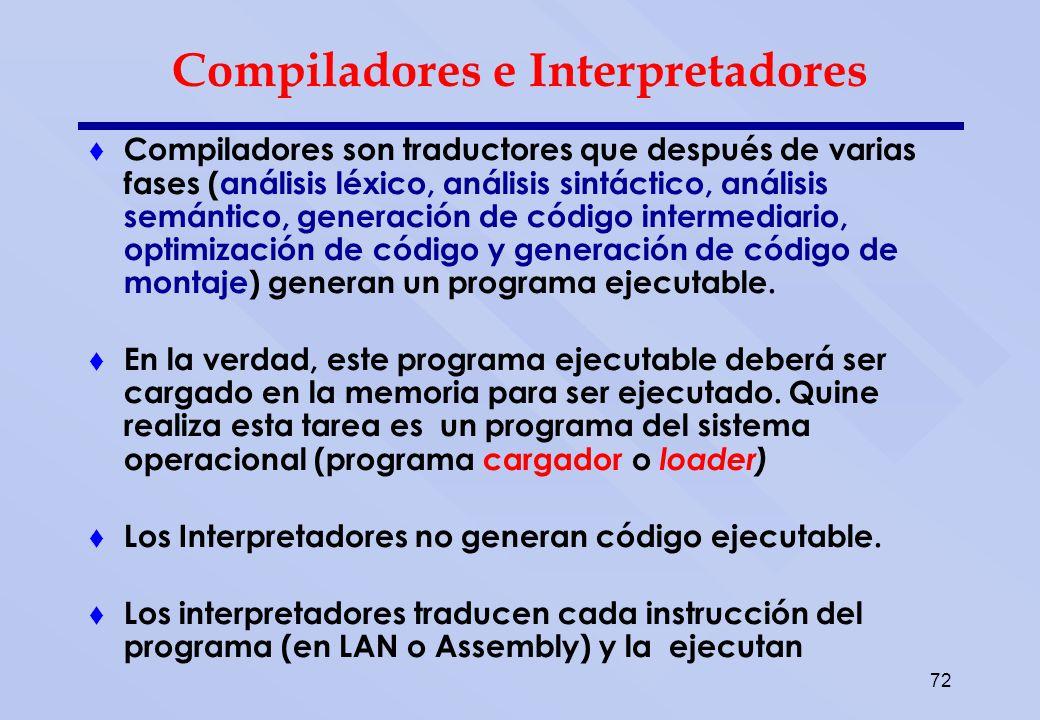 72 Compiladores e Interpretadores Compiladores son traductores que después de varias fases (análisis léxico, análisis sintáctico, análisis semántico,