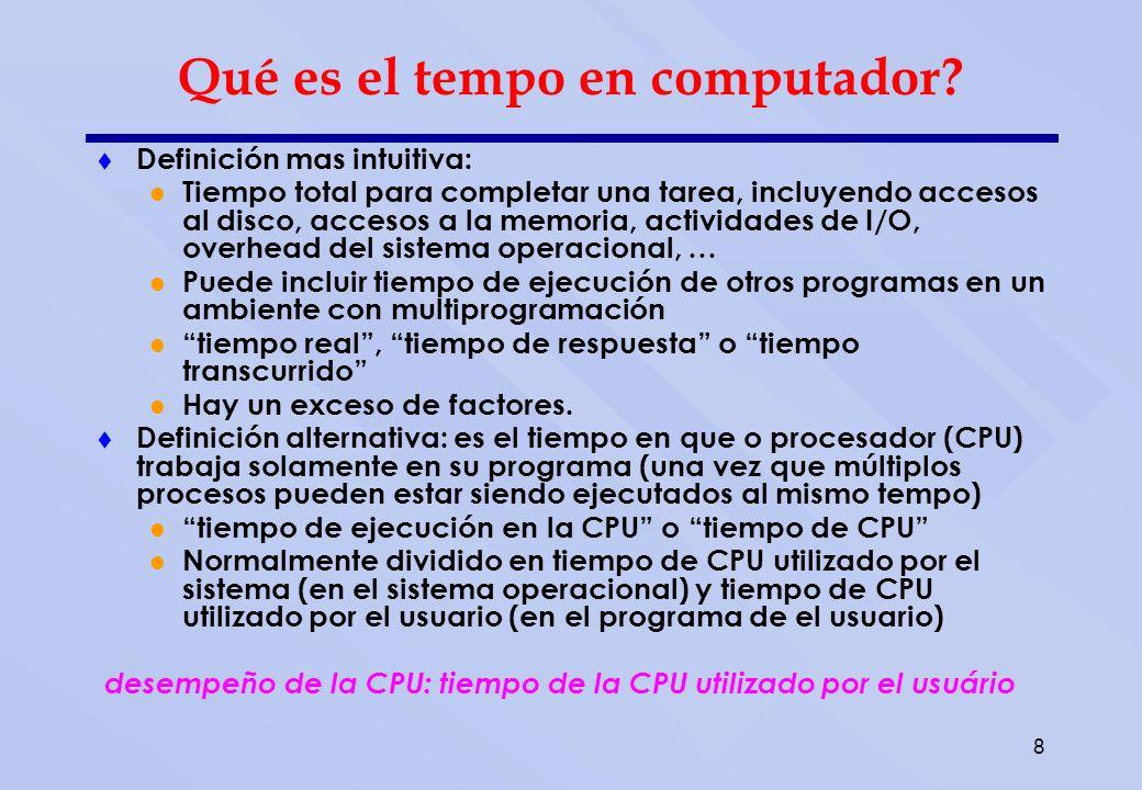 8 Qué es el tempo en computador? Definición mas intuitiva: Tiempo total para completar una tarea, incluyendo accesos al disco, accesos a la memoria, a