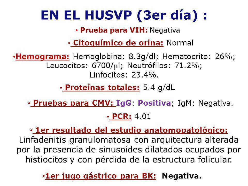 EN EL HUSVP (3er día) : Prueba para VIH: Negativa Prueba para VIH: Negativa Citoquímico de orina: Normal Hemograma: Hemoglobina: 8.3g/dl; Hematocrito: