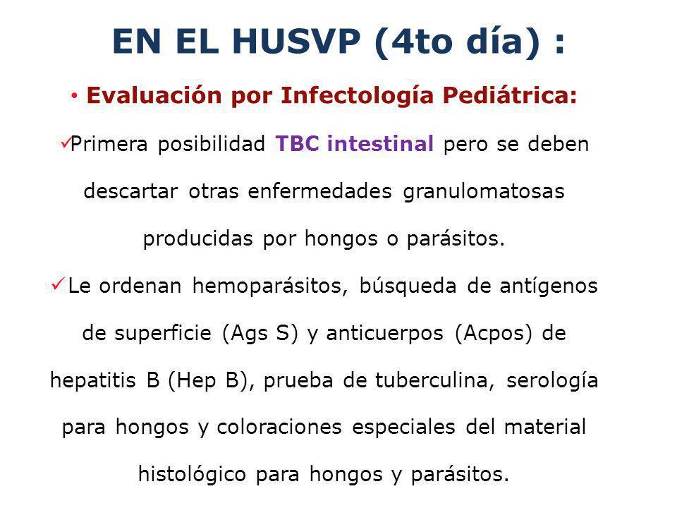 EN EL HUSVP (4to día) : Evaluación por Infectología Pediátrica: Primera posibilidad TBC intestinal pero se deben descartar otras enfermedades granulom