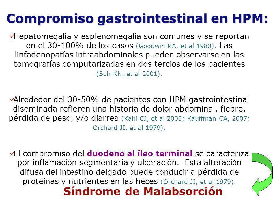 Hepatomegalia y esplenomegalia son comunes y se reportan en el 30-100% de los casos (Goodwin RA, et al 1980). Las linfadenopatías intraabdominales pue