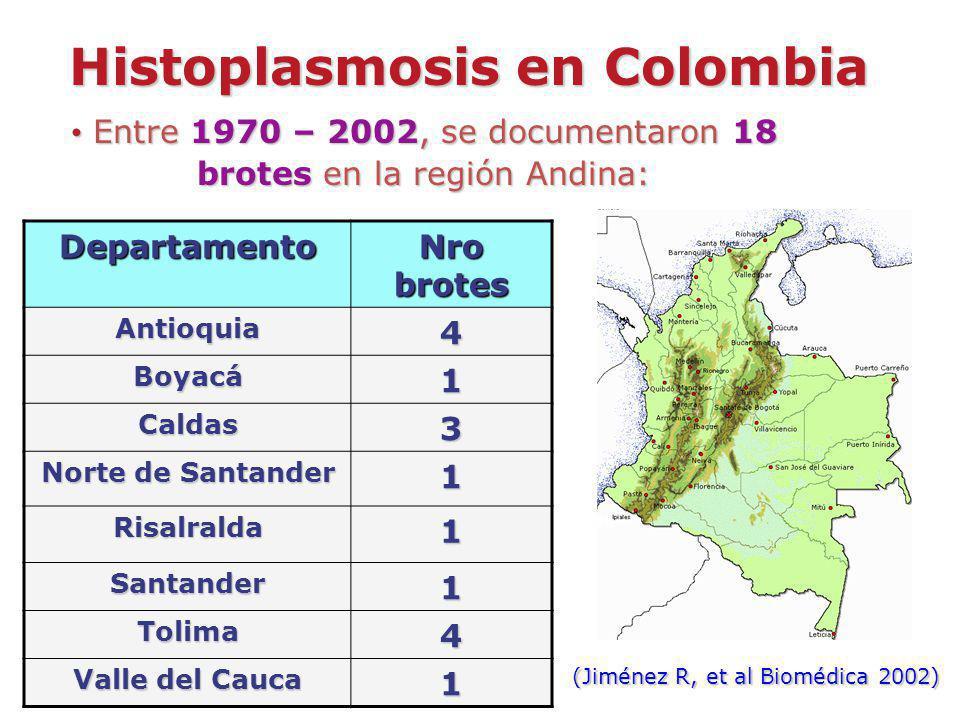Histoplasmosis en Colombia Entre 1970 – 2002, se documentaron 18 brotes en la región Andina: Entre 1970 – 2002, se documentaron 18 brotes en la región