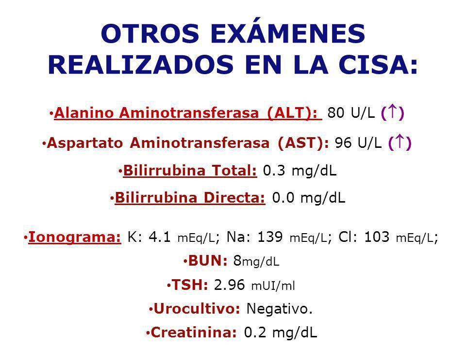 Alanino Aminotransferasa (ALT): 80 U/L ( ) Aspartato Aminotransferasa (AST): 96 U/L ( ) Bilirrubina Total: 0.3 mg/dL Bilirrubina Directa: 0.0 mg/dL Io