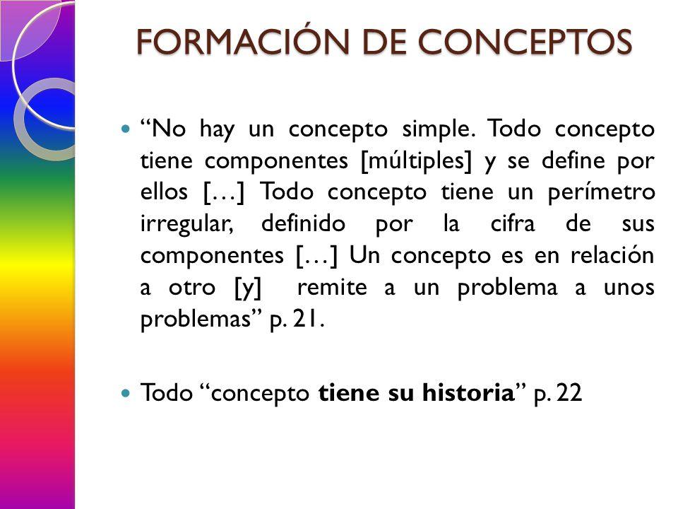 SISTEMA DE RELACIÓN CONCEPTUAL Lo que pertenece propiamente a una formación discursiva y lo que permite delimitar el grupo de conceptos, dispares no obstante, que le son específicos, es la manera en que esos diferentes elementos se hallan en relación los unos con los otros: la manera por ejemplo en que la ordenación de las descripciones o de los relatos está unida a las técnicas de reescritura; la manera en que el campo de memoria está ligado a las formas de jerarquía y de subordinación que rigen los enunciados de un texto; la manera en que están ligados los modos de aproximación y de desarrollo de los enunciados y los modos de crítica, de comentarios, de interpretación de enunciados ya formulados p.