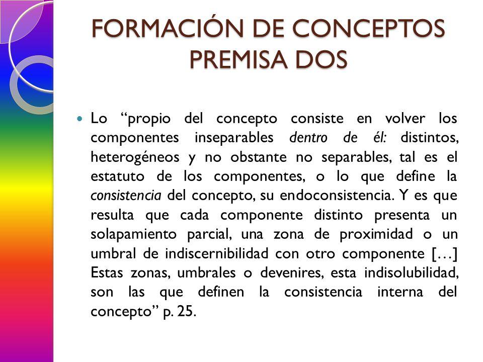 Lo propio del concepto consiste en volver los componentes inseparables dentro de él: distintos, heterogéneos y no obstante no separables, tal es el estatuto de los componentes, o lo que define la consistencia del concepto, su endoconsistencia.