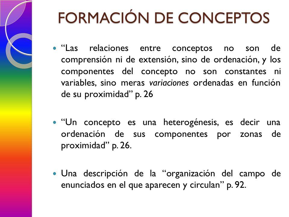 Las relaciones entre conceptos no son de comprensión ni de extensión, sino de ordenación, y los componentes del concepto no son constantes ni variables, sino meras variaciones ordenadas en función de su proximidad p.