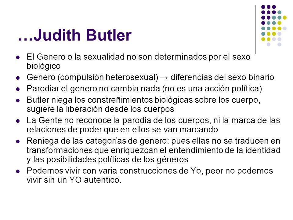 …Judith Butler El Genero o la sexualidad no son determinados por el sexo biológico Genero (compulsión heterosexual) diferencias del sexo binario Parod