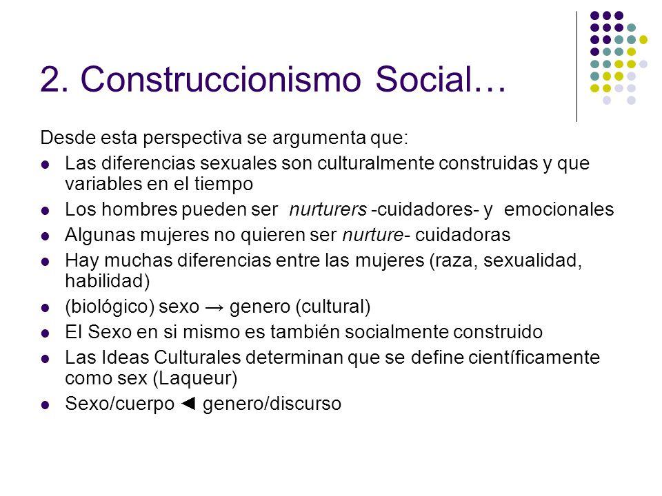 2. Construccionismo Social… Desde esta perspectiva se argumenta que: Las diferencias sexuales son culturalmente construidas y que variables en el tiem