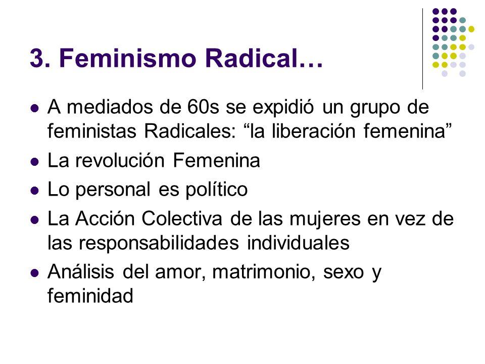 3. Feminismo Radical… A mediados de 60s se expidió un grupo de feministas Radicales: la liberación femenina La revolución Femenina Lo personal es polí