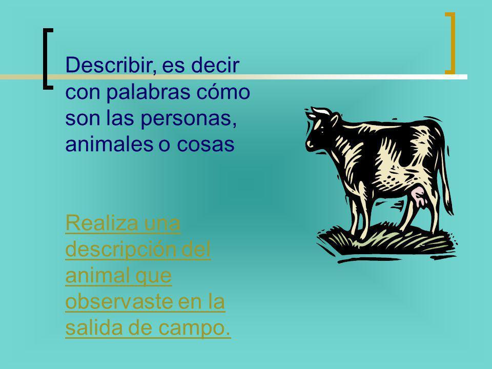 Describir, es decir con palabras cómo son las personas, animales o cosas Realiza una descripción del animal que observaste en la salida de campo.