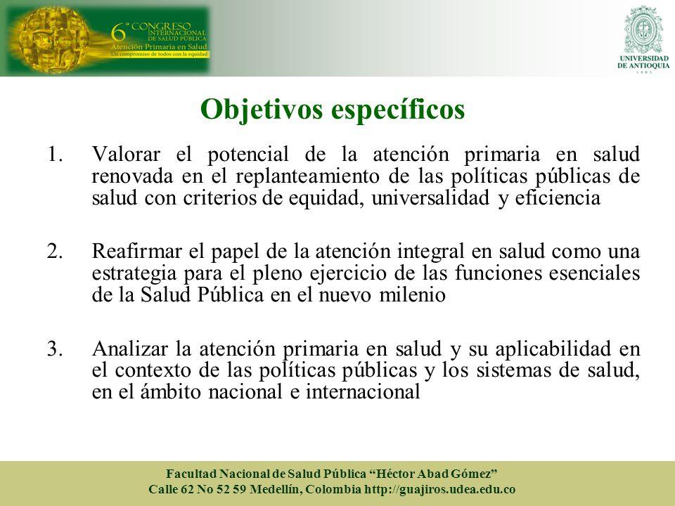 Objetivos específicos 1.Valorar el potencial de la atención primaria en salud renovada en el replanteamiento de las políticas públicas de salud con cr