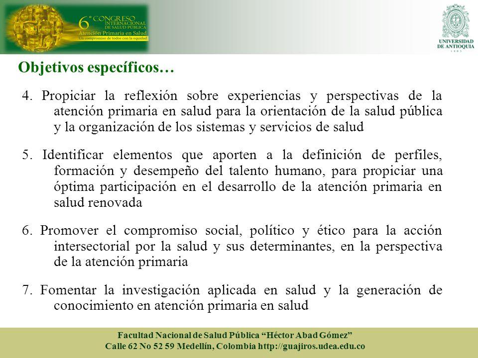 Objetivos específicos… 4. Propiciar la reflexión sobre experiencias y perspectivas de la atención primaria en salud para la orientación de la salud pú