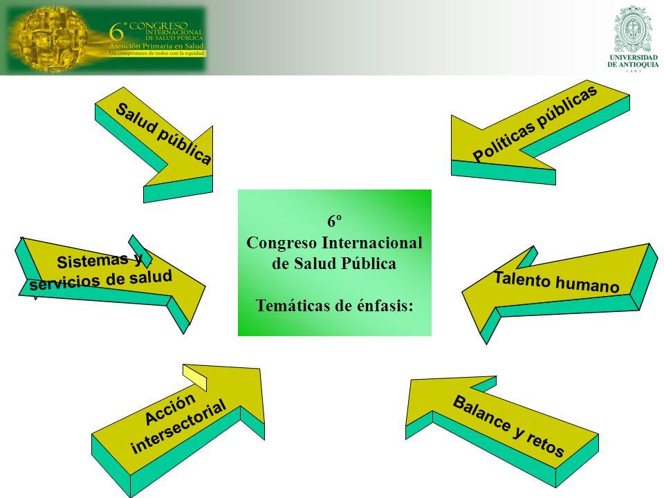Acción intersectorial Salud pública Sistemas y servicios de salud Balance y retos Políticas públicas Talento humano 6º Congreso Internacional de Salud