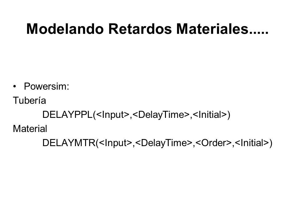 Modelando Retardos Materiales..... Powersim: Tubería DELAYPPL(,, ) Material DELAYMTR(,,, )