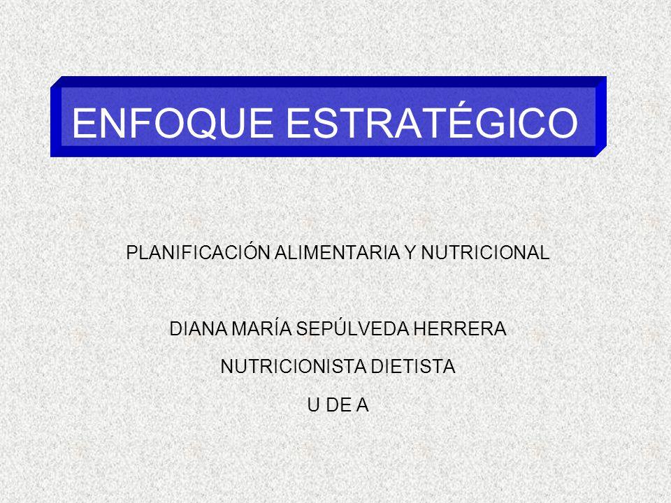 ENFOQUE ESTRATÉGICO PLANIFICACIÓN ALIMENTARIA Y NUTRICIONAL DIANA MARÍA SEPÚLVEDA HERRERA NUTRICIONISTA DIETISTA U DE A