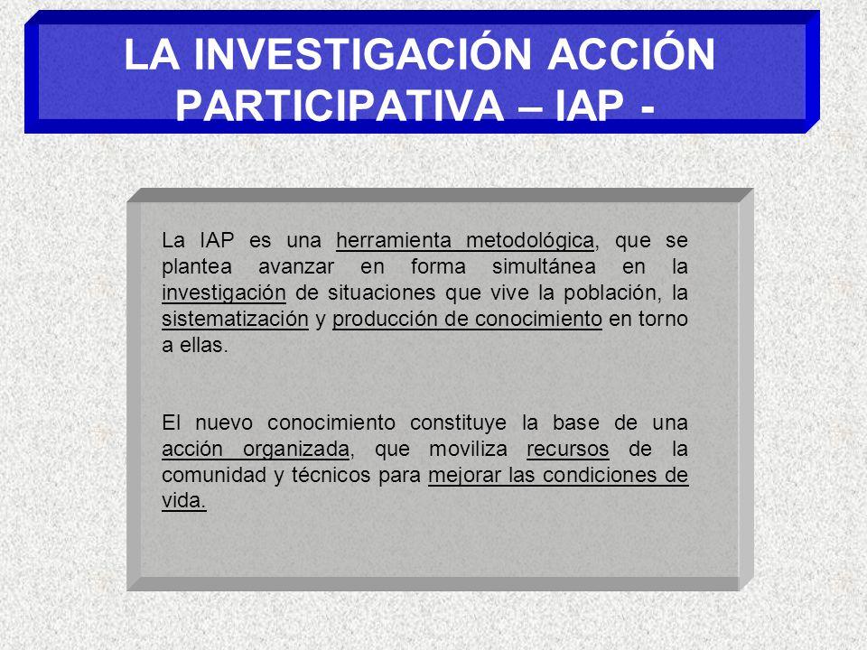 LA INVESTIGACIÓN ACCIÓN PARTICIPATIVA – IAP - La IAP es una herramienta metodológica, que se plantea avanzar en forma simultánea en la investigación de situaciones que vive la población, la sistematización y producción de conocimiento en torno a ellas.