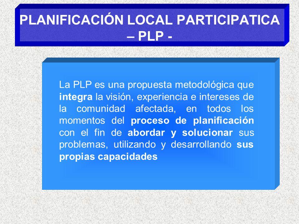 PLANIFICACIÓN LOCAL PARTICIPATICA – PLP - La PLP es una propuesta metodológica que integra la visión, experiencia e intereses de la comunidad afectada, en todos los momentos del proceso de planificación con el fin de abordar y solucionar sus problemas, utilizando y desarrollando sus propias capacidades