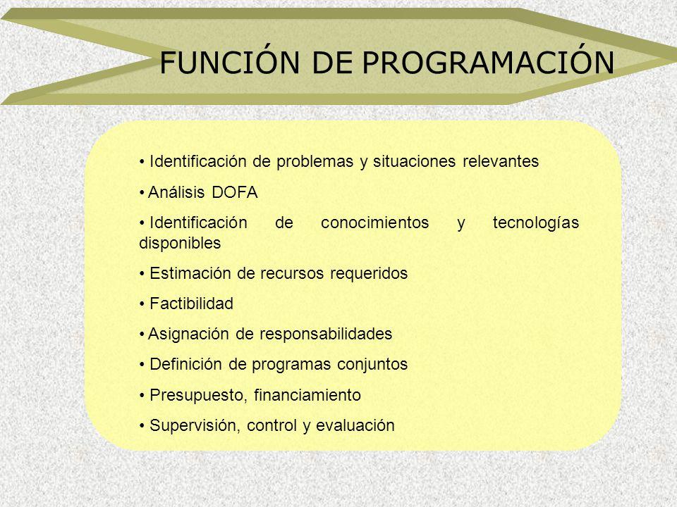 FUNCIÓN DE PROGRAMACIÓN Identificación de problemas y situaciones relevantes Análisis DOFA Identificación de conocimientos y tecnologías disponibles E