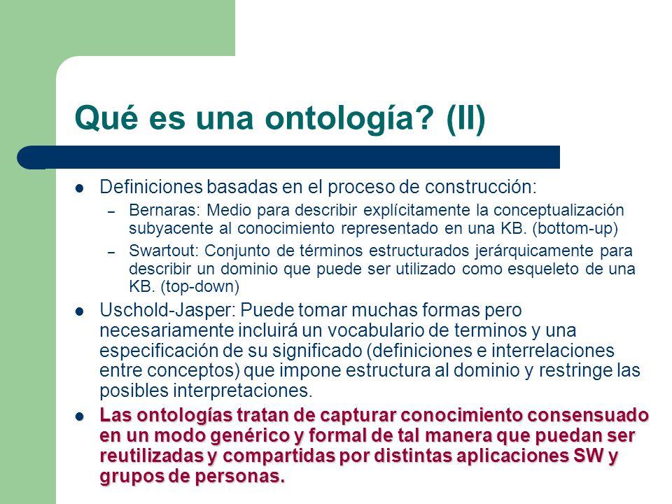Qué es una ontología? (II) Definiciones basadas en el proceso de construcción: – Bernaras: Medio para describir explícitamente la conceptualización su