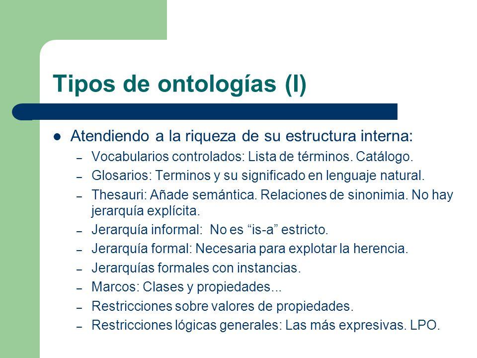 Tipos de ontologías (I) Atendiendo a la riqueza de su estructura interna: – Vocabularios controlados: Lista de términos. Catálogo. – Glosarios: Termin