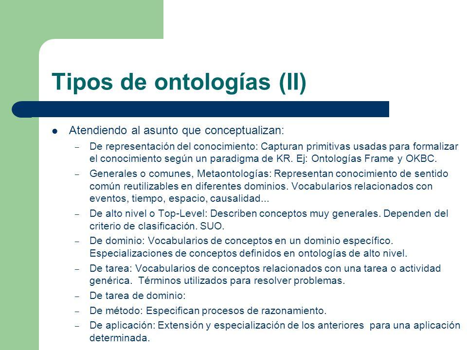 Tipos de ontologías (II) Atendiendo al asunto que conceptualizan: – De representación del conocimiento: Capturan primitivas usadas para formalizar el
