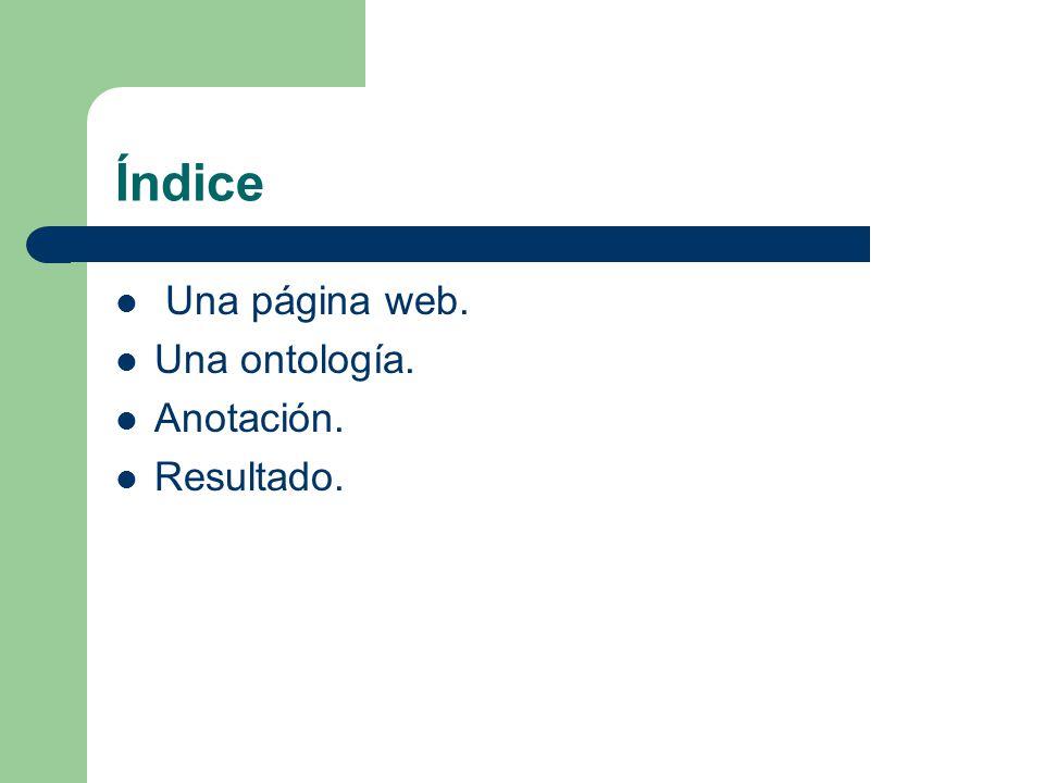 Índice Una página web. Una ontología. Anotación. Resultado.