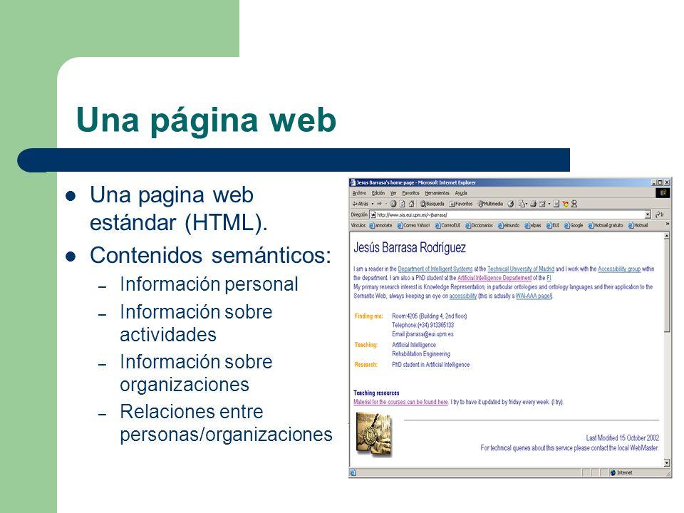 Una página web Una pagina web estándar (HTML). Contenidos semánticos: – Información personal – Información sobre actividades – Información sobre organ