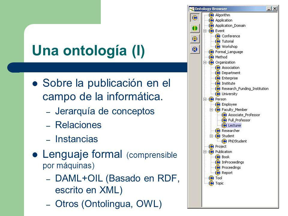 Una ontología (I) Sobre la publicación en el campo de la informática. – Jerarquía de conceptos – Relaciones – Instancias Lenguaje formal (comprensible
