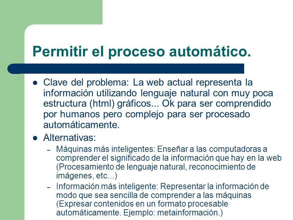 Permitir el proceso automático. Clave del problema: La web actual representa la información utilizando lenguaje natural con muy poca estructura (html)