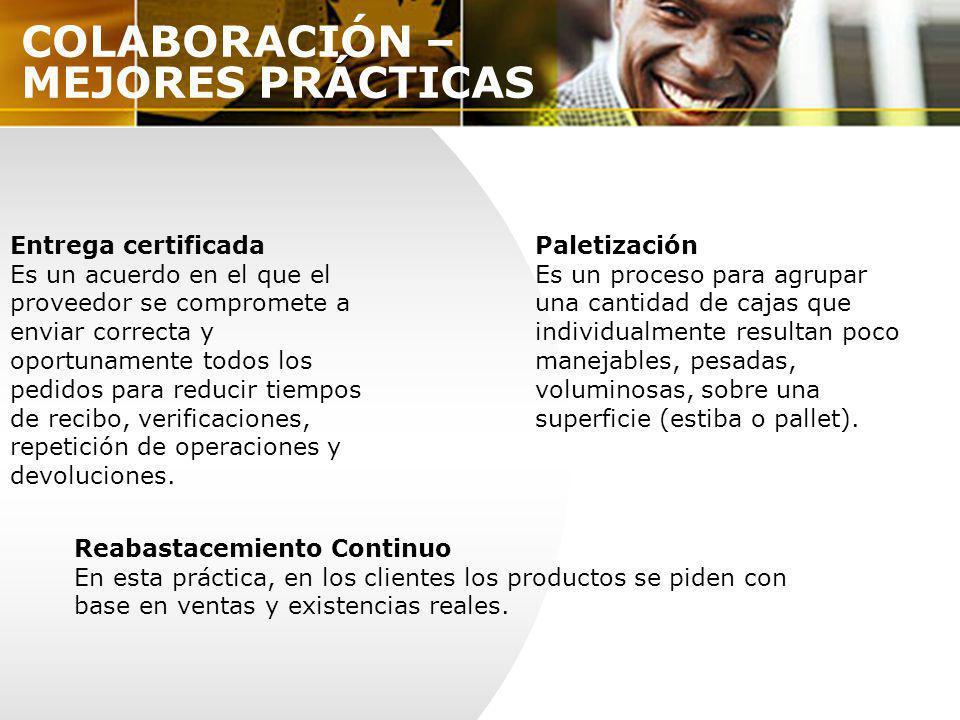 COLABORACIÓN – MEJORES PRÁCTICAS Entrega certificada Es un acuerdo en el que el proveedor se compromete a enviar correcta y oportunamente todos los pe