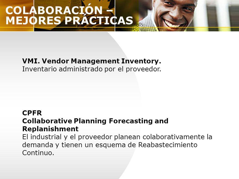 COLABORACIÓN – MEJORES PRÁCTICAS VMI. Vendor Management Inventory. Inventario administrado por el proveedor. CPFR Collaborative Planning Forecasting a