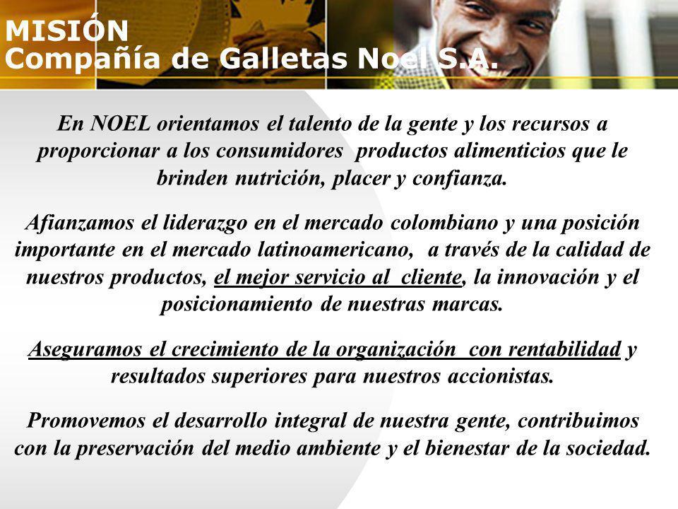 En NOEL orientamos el talento de la gente y los recursos a proporcionar a los consumidores productos alimenticios que le brinden nutrición, placer y c