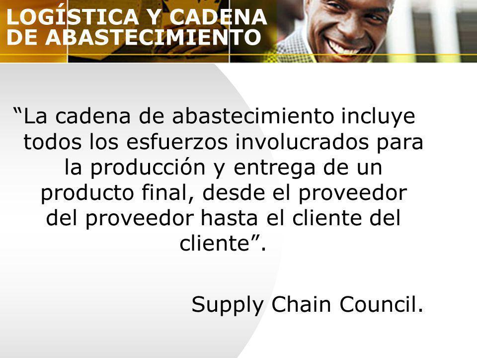 LOGÍSTICA Y CADENA DE ABASTECIMIENTO La cadena de abastecimiento incluye todos los esfuerzos involucrados para la producción y entrega de un producto