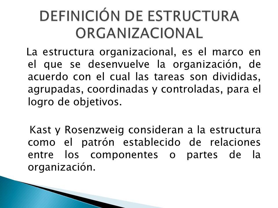 La estructura organizacional, es el marco en el que se desenvuelve la organización, de acuerdo con el cual las tareas son divididas, agrupadas, coordinadas y controladas, para el logro de objetivos.