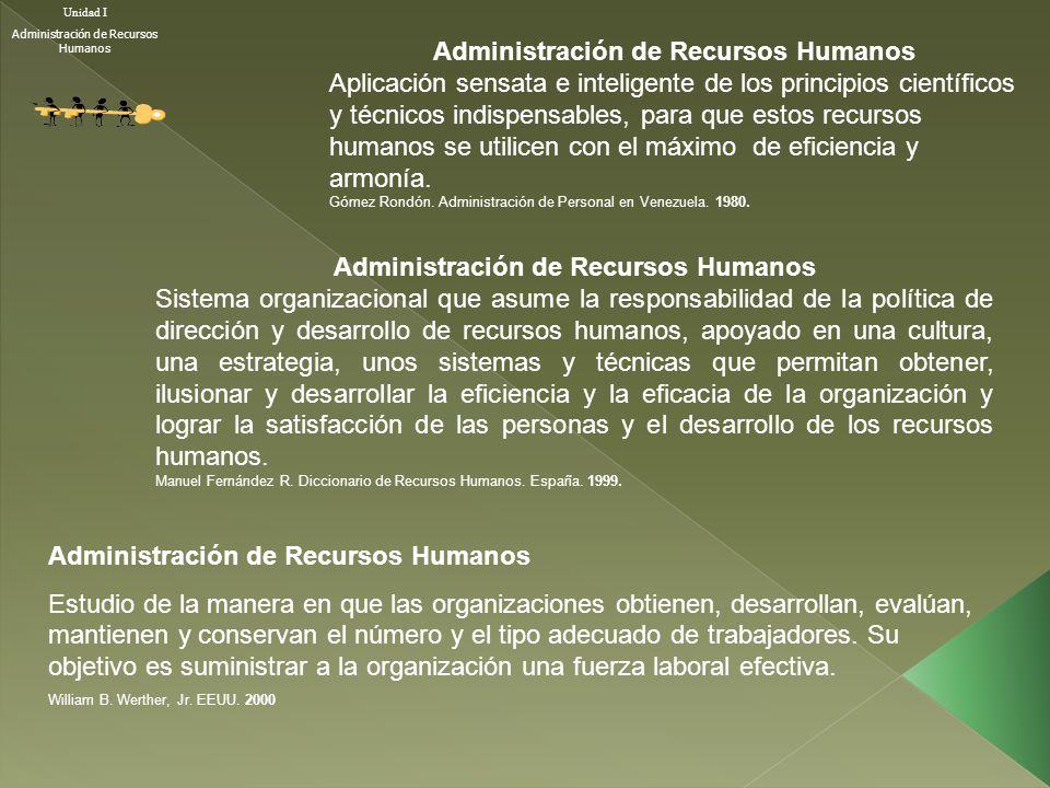 Administración de Recursos Humanos Aplicación sensata e inteligente de los principios científicos y técnicos indispensables, para que estos recursos h